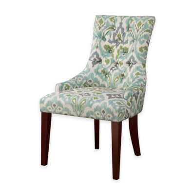 Madison Park Corbel Tufted Back Dining Chair in Blue/Green (Set of 2)