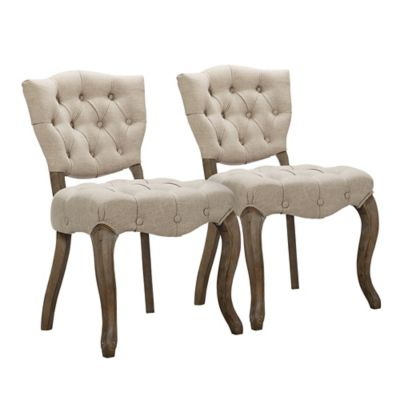 Madison Park Vera Button Back Dining Chairs in Linen (Set of 2)