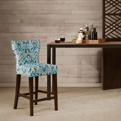 Madison Park Avila Tufted Back Counter Stool in Blue/Yellow