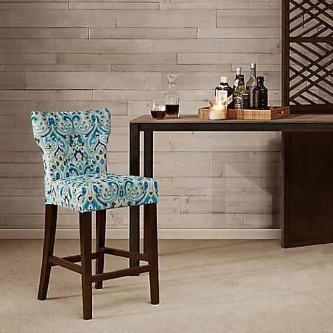 Madison Park Avila Tufted Back Counter Stool In Blue