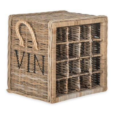 Safavieh Aziza 16-Bottle Wicker Wine Rack in Grey