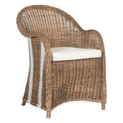 Safavieh Hemi Striped Wicker Club Chair in Natural