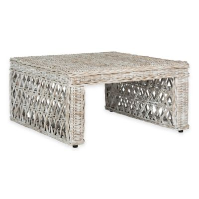 Safavieh Shila Wicker Coffee Table in White Wash