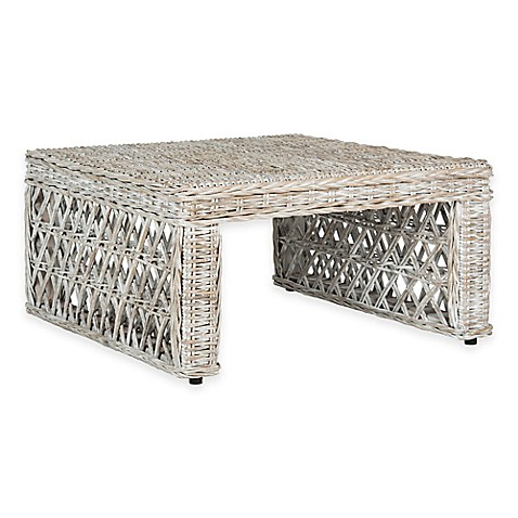 Safavieh shila wicker coffee table in white wash bed bath beyond White wicker coffee table