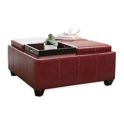 Abbyson Living® Trapani Square Ottoman in Red