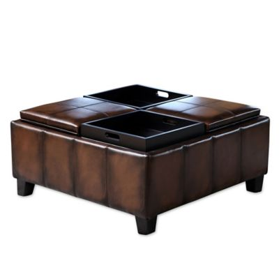 Leather Tray Ottoman