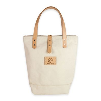 The Mason Shaker Cocktail Tote in White Canvas/Tan Leather
