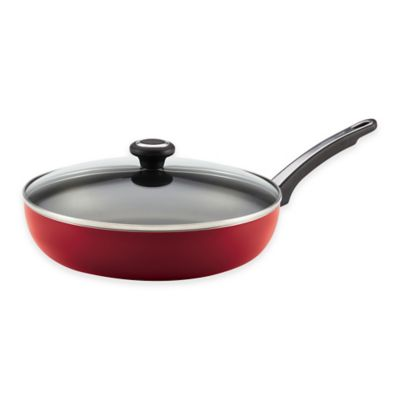 Farberware® High Performance Nonstick Aluminum 12-Inch Covered Deep Skillet in Red