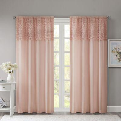 Madison Park Bessie 63-Inch Rod Pocket Window Curtain Panel in Pink