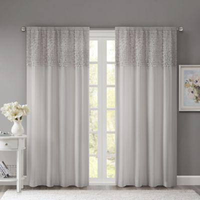 Madison Park Bessie 84-Inch Rod Pocket Window Curtain Panel in Grey