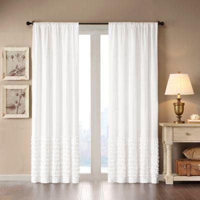 Madison Park Bessie 63-Inch Rod Pocket Window Curtain Panel in White