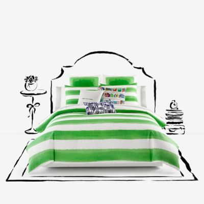 kate spade new york Rugby Stripe Full/Queen Comforter Set in Green