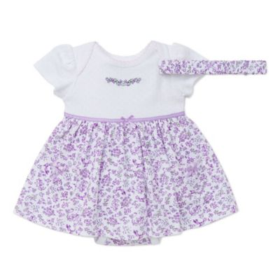 Little Me® Size 3M 2-Piece Floral Bodysuit Dress and Headband Set in Purple/White