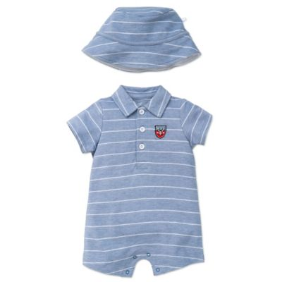 Little Me® Size 6M 2-Piece MVP Striped Romper and Hat Set in Blue/White