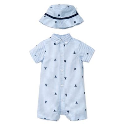 Little Me® Size 6M 2-Piece Sailboat Striped Romper and Hat Set in Blue/White