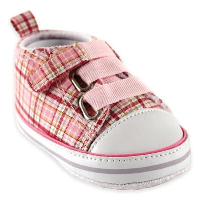 BabyVision® Luvable Friends® Size 0-6M Plaid Sneaker in Light Pink