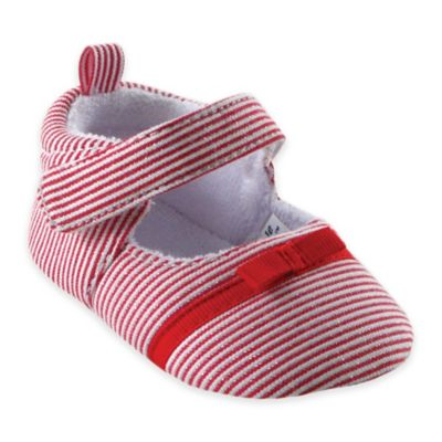 BabyVision® Luvable Friends® Size 12-18M Bow Dress Shoe in Red Stripe