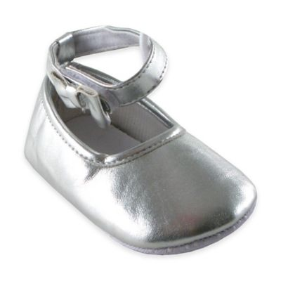 BabyVision® Luvable Friends® Size 0-6M Ankle Bow Shoe in Silver