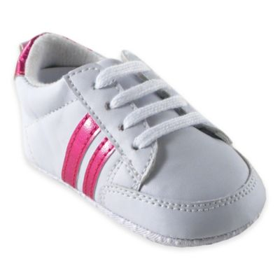 BabyVision® Luvable Friends® Size 6-12M Basic Stripe Sneaker in White/Pink