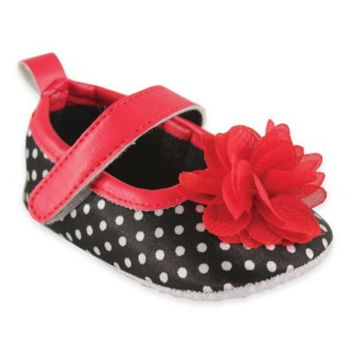 BabyVision® Luvable Friends® Size 12-18M Mary Jane Shoe in Black/White Polka Dot
