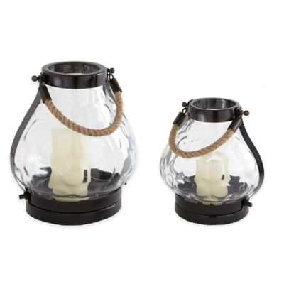 Cambridge 11-Inch Hammered Lantern Candle Holder in Bronze