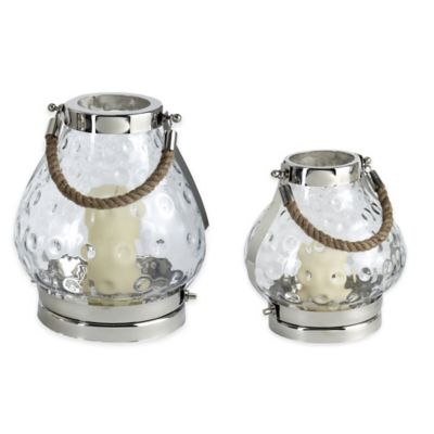 Cambridge 11-Inch Hammered Lantern Candle Holder in Polished Nickel