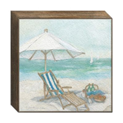 Seaside Chair Digitally Printed Parchment Canvas Framed Wall Art