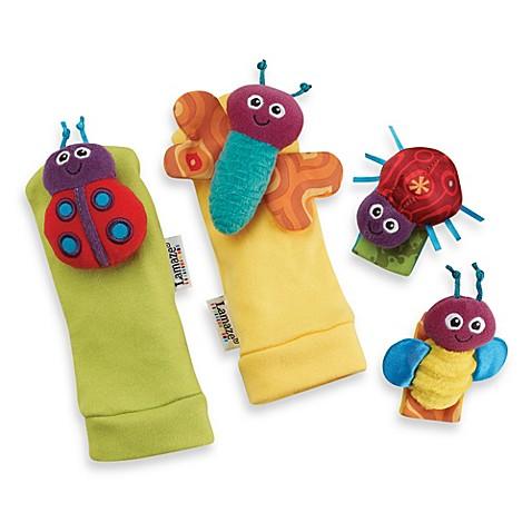 lamaze gardenbug 4 piece foot finder and wrist rattle set. Black Bedroom Furniture Sets. Home Design Ideas