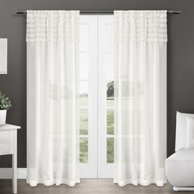 Harta 84-Inch Rod Pocket Semi-Sheer Window Curtain Panel Pair in Off-White
