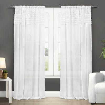 Exclusive Home Barcelona 84-Inch Rod Pocket Semi-Sheer Window Curtain Panel Pair in White