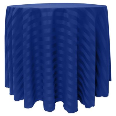 Poly-Stripe 90-Inch Round Tablecloth in White