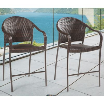 Barrington Wicker Stacking Bar Chairs (Set of 2)