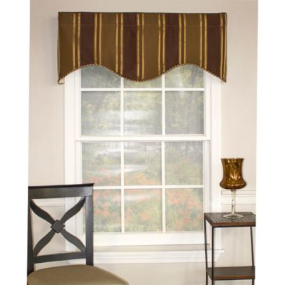 RL Fisher Euro Stripe Cornice Window Valance in Olive