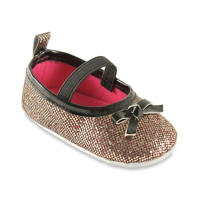 BabyVision® Luvable Friends® Size 6-12M Sparkly Mary Jane Crib Shoe in Gold