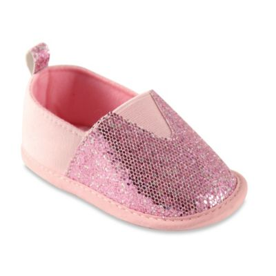 BabyVision® Luvable Friends® Size 12-18M Sparkly Slip-On Shoe in Pink