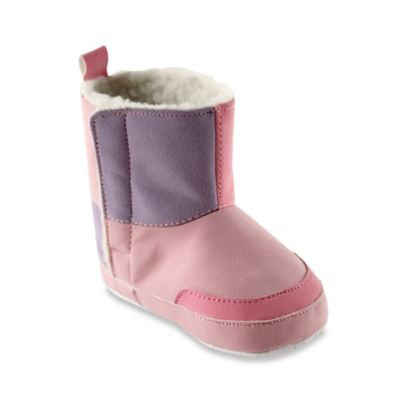 BabyVision® Luvable Friends® Size 6-12M Faux Suede Boots in Pink/Purple