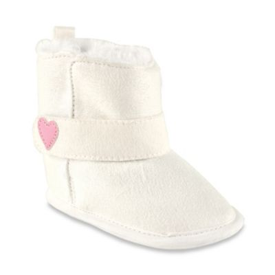 BabyVision® Luvable Friends® Size 12-18M Faux Suede Boots in White