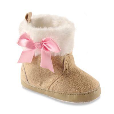 BabyVision® Luvable Friends® Size 12-18M Faux Fur Trim Boots in Beige