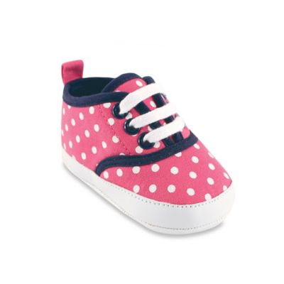 BabyVision® Luvable Friends® Size12-18M Classic Canvas Sneaker in Pink/White Polka Dot