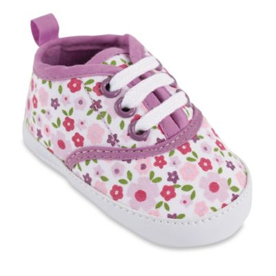 BabyVision® Luvable Friends® Size 6-12M Classic Canvas Sneaker in Purple Floral Print