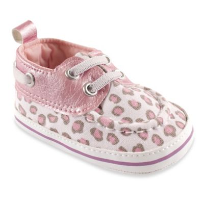 BabyVision® Luvable Friends™ Size 0-6M Leopard Boat Shoe in Pink