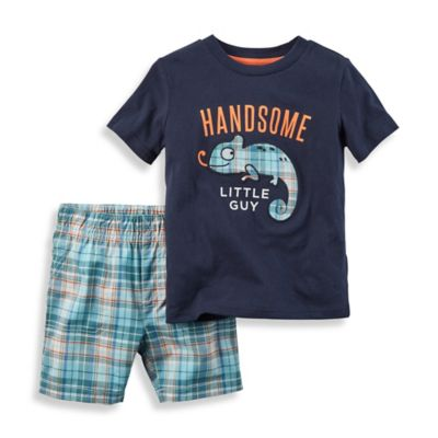 "carter's® Size 12M 2-Piece ""Handsome Little Guy"" Neon Shirt and Short Set in Navy"