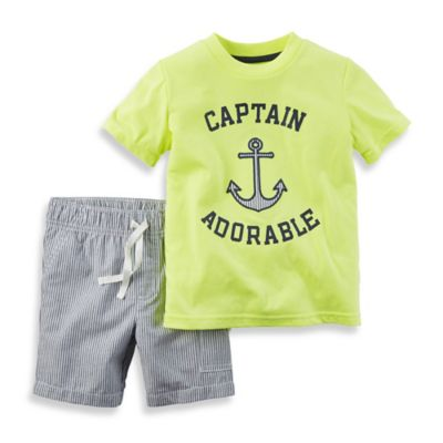 "carter's® Size 12M 2-Piece ""Captain Adorable"" Shirt and Short Set in Neon/Grey"