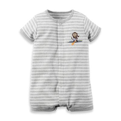 carter's® Newborn Snap-Up Cotton Monkey Romper in Grey