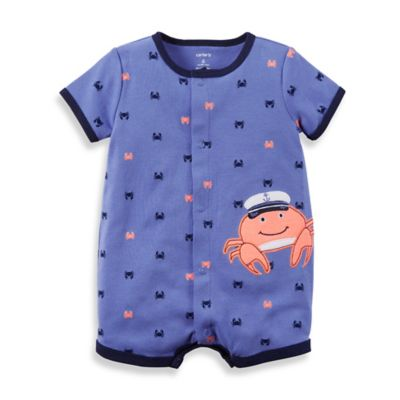 carter's® Newborn Snap-Up Cotton Crab Romper in Blue