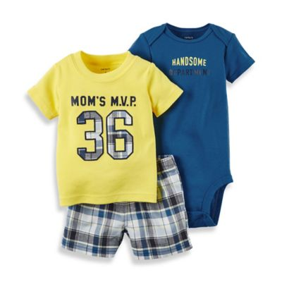 "carter's® Newborn 3-Piece ""Mom's MVP"" Shirt, Bodysuit, and Short Set in Blue/Yellow"
