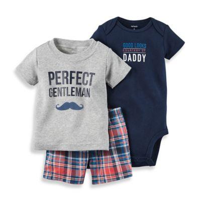 "carter's® Size 6M 3-Piece ""Perfect Gentleman"" Shirt, Bodysuit, and Short Set in Navy/Grey"