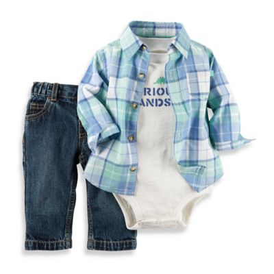 "carter's® Newborn 3-Piece ""Seriously Handsome"" Shirt, Bodysuit, and Jean Set in Blue/White"