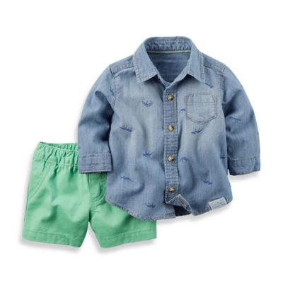 carter's® Size 18M 2-Piece Button-Down Denim Shirt and Short Set in Chambray