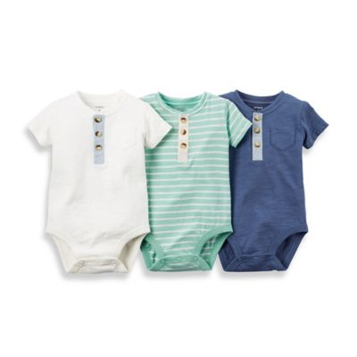 carter's® Size 18M 3-Pack Short-Sleeve Bodysuits in Mint/Blue/White